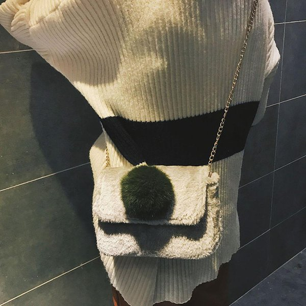 Cute Plush Cross Body Bags Women Small Shoulder Bags Ladies Retro Flannel Fabric Hasp Handbags Women's Bag Shoulder Bag Cute #20