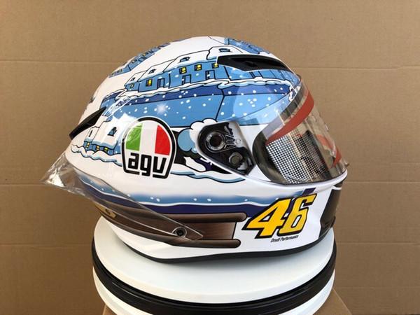 Белый мотоциклетный шлем Agv Pista Test (не оригинал)