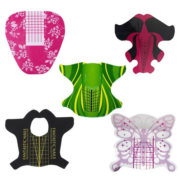 100 Feuilles ongles avec les formes échelle française acrylique liquide Système de poly Gel Extension Builder Guide Stencil Kit Salon Formulaire