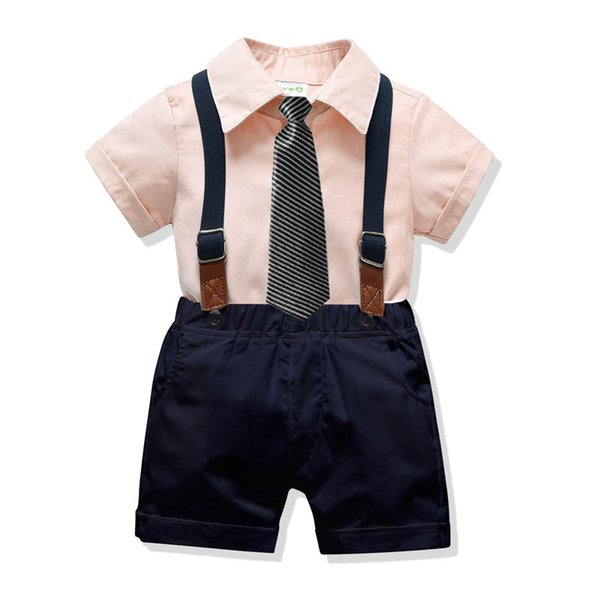 New kids designer clothes boys suits Summer Fashion Boys Clothing Sets necktie shirts+suspender shorts Party Kids Outfits boys clothes A5374