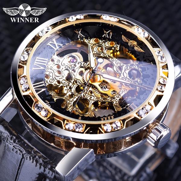 Winner Black Golden Retro Luminous Hands Fashion Diamond Display Mens Mechanical Skeleton Wrist Watches Top Brand Luxury Clock Y19051302