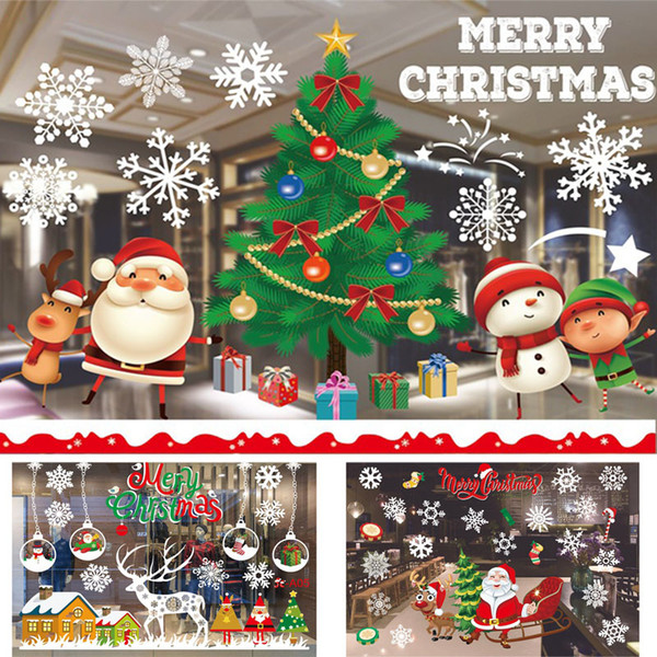 Christmas Self-adhesive Stickers Decorations Clearance Merry Christmas Ornament Home Window Wall Stickers Shopping Mall Glass DHL WX9-1163