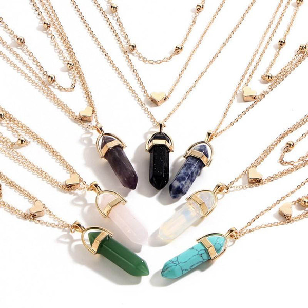 Fashion Multi-layer Chain Mens Womens Created Gemstone Natural Stone Hexagonal Prism Pile Pendant Necklace