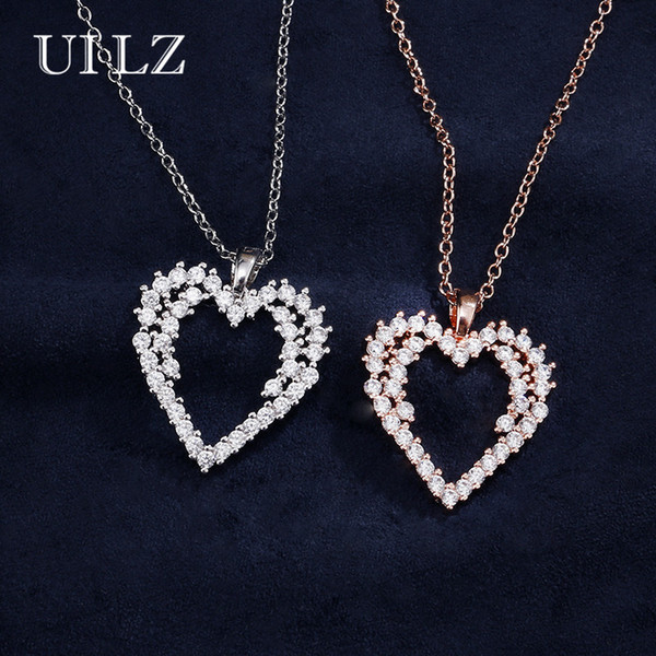 ilz fashion crystal pendant necklace white gold cubic zirconia jewelry cute style fur women girl christmas gift un2028 - from $24.97