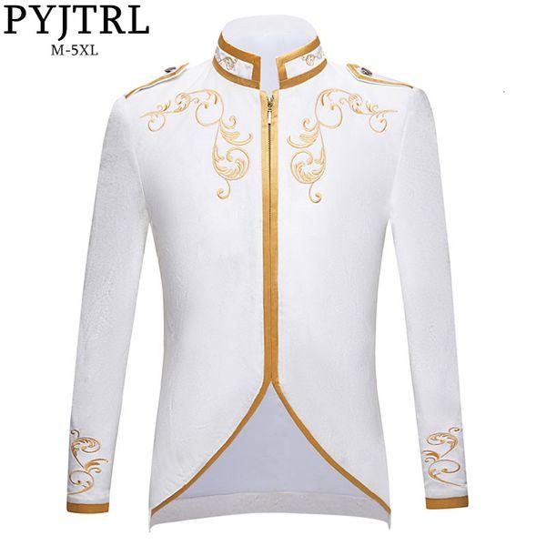 PYJTRL New British Style Royalty Prince Pure White Velvet Gold Embroidery Blazer Wedding Groom Slim Fit Suit Jacket Singers Coat
