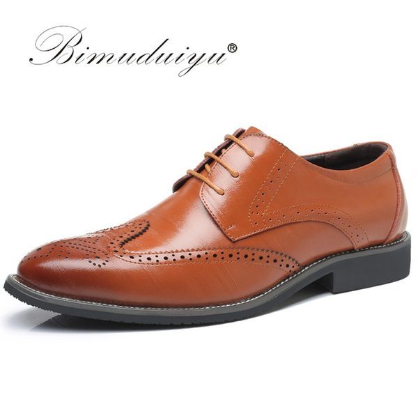 BIMUDUIYU Luxury Leather Lace Up Modern Men's Business Dress Brogue Shoes Party Wedding Suit Formal Footwear Male Dress Shoes #56233
