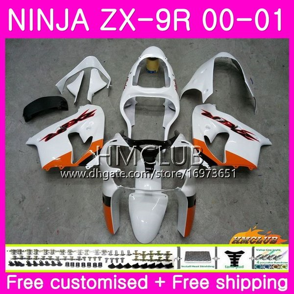Karosserie Für KAWASAKI NINJA ZX-9R ZX900 ZX 900 ZX9 R 00 01 Karosserie 65HM.23 Orange Weiß 900CC ZX 9 R ZX9R 00-01 ZX 9R 2000 2001 Vollverkleidung