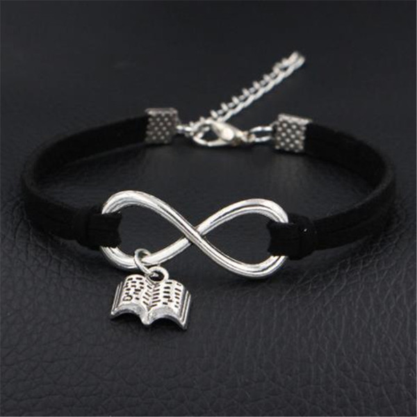 2019 New Women Men Fashion Jewelry I Love Read Books Pendant Charms Bracelets Antique Silver Infinity Love Black Leather Suede Bangles Gifts