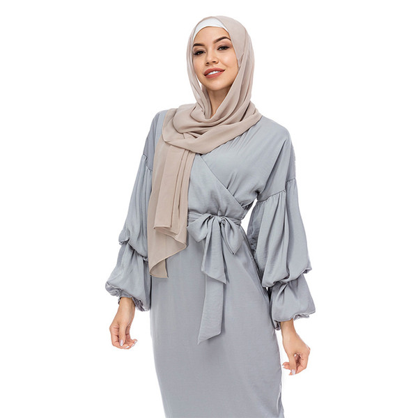2019 Moda Donna Abaya Musulmano Abito Islamico Arabo Lungo Hijab Scollo a Manica Lattern Sleeve Abito Musulmano Burqa Jilab Abaya