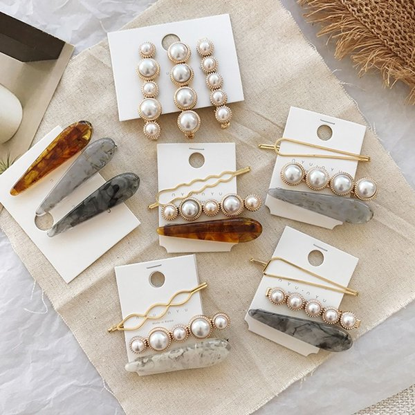 3pcs/Set Korea Japan Metal Gold Pearl Irregular Acetate Hair Clip for Women Girl Wedding Party Hairpins Barrettes Hair Accessories Jewelry
