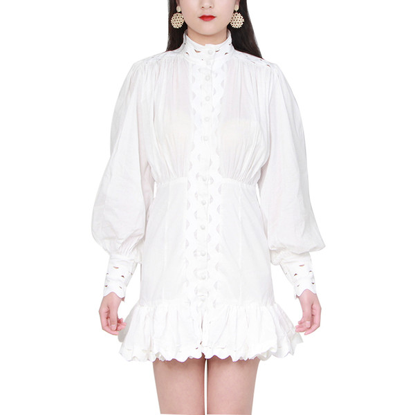 A Line Plus Size Spring White And Black Hollow Out Mini Women Stand Collar Lantern Long Sleeve Slim High Waist Female Dresses 2019 Fashion