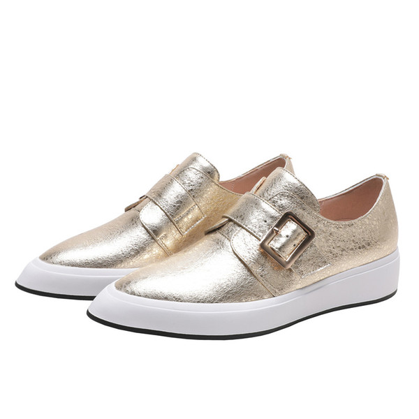 New Gold White Women's Shoes Pointed Platform Shoes Flat-bottom Slip On Loafers For Women Deep Mouth Single