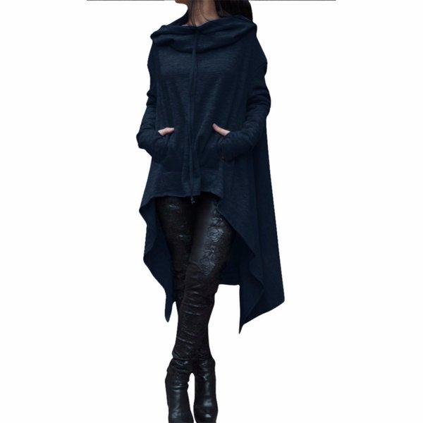 Otoño Primavera Chaqueta de mujer Moda Sudadera larga Ropa de abrigo Irregular Cuello con capucha Ropa Chaqueta básica Negro Rojo S-5XL