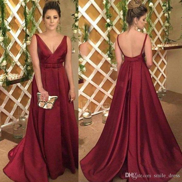 Real Photo Evening Dresses Burgundy Deep V Neck Prom Dresses Long Backless Satin Plus Size Formal Dresses SP334