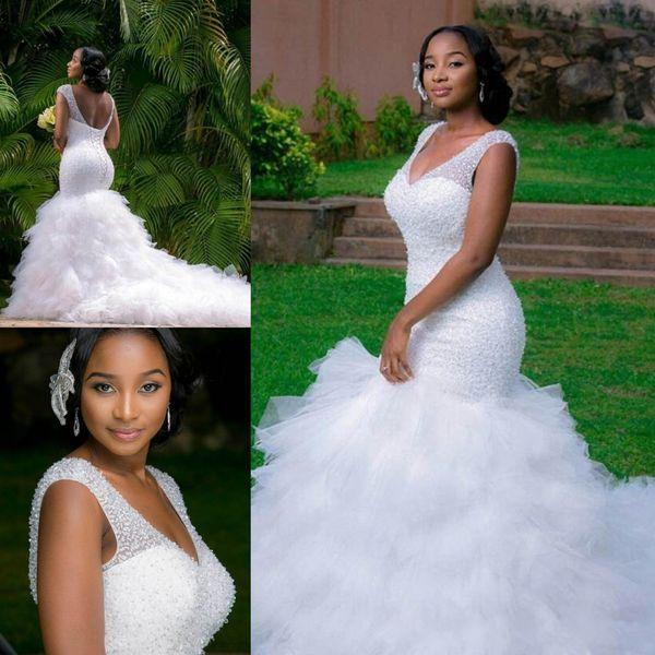 Vintage White Mermaid Wedding Dresses Beading Sheer Deep V Neck Backless Corset Ruffles Tulle Garden Wedding Bridal Gowns DH072