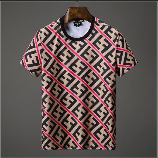 2019 Mens Designer Tshirt Summer Mens Sciolto traspirante a righe Double F Latter Print Tee Shirt di lusso Hot Brand Size M-3XL