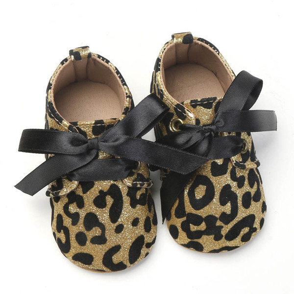 New glisten baby shoes leopard Bling toddler shoes bowknot infant shoes Moccasins Soft Baby First Walker Shoe sequin princess shoe A4474
