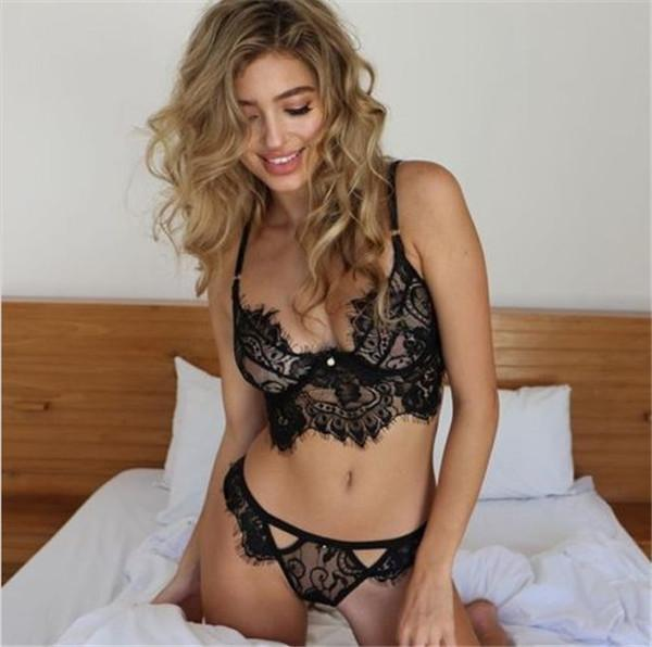 best selling Women Underwear Sexy Set lace outfit Eyelash style lace underwear Including bras and panties Three point girl underwear