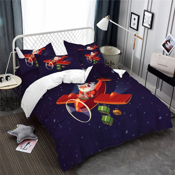 New Christmas Bedding Set Cartoon Santa Claus Airplane Print Duvet Cover Set Snow Night Bed Cover Festival Gift Home Decor 3Pcs