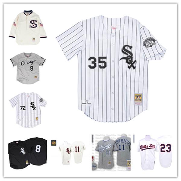 Chicago Jackson 1993 Authentic Jersey White Sox Carlton Fisk 1993 Frank Thomas Luis Aparicio 1959 Robin Ventura 1990 Baeball maglie