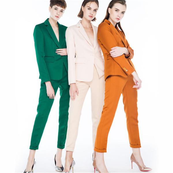 Silk suit Pant Suits Women Casual Office Business Suits Formal Work Wear Sets Uniform Styles Elegant Pant Suits