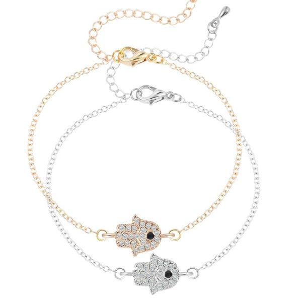Wholesale-2016 Women Hamsa Bracelet Crystal Studded Hippie Hamsa Hand Chain Link Bracelets For Women Fahion Jewelry Pulsera