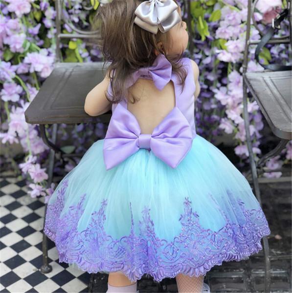 Abiti per bambini per ragazze pizzo principessa del capretto spettacolo damigella d'onore abito formale prom tutu vestiti della neonata vestiti J190612