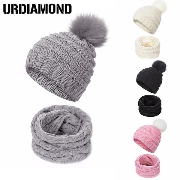 URDIAMOND Children Kids Winter Hat Scarf Set Fashion Solid Ball Hat Pom Pom Beanies Baby Girls Warm Cap Scarf Set