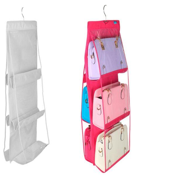 double-sided six-layer bag hanging bag six-port handbag storage sorting multi-layer perspective dustproof