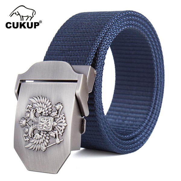 CUKUP Design Russina Flag Pattern Automatic Buckle Metal Male Waistbands Quality Canvas Belt Jeans Accessories Men CBCK155