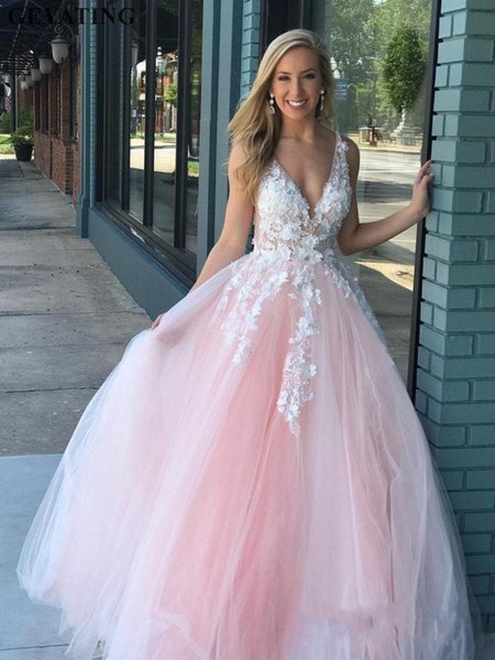 Sexy Deep V Neck Backless A Line Prom Dresses 2019 Tulle Ball Gown Maxi Dress Vestidos De Gala Elegant Long Evening Formal Party Dress
