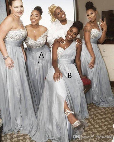 Um ombro de prata longo dividir vestidos de dama de honra Africano frisado Chiffon A linha de vestidos de madrinha de casamento menina Black Guest Wear