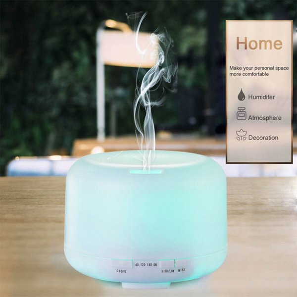 7 color LED 500ml Round Humidifier with Aroma Lamp Essential Oil Ultrasonic Electric Aroma Diffuser Air Humidifier UK/US/AU/EU Plug