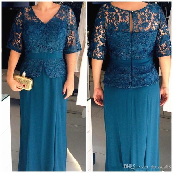 Plus Size Mother of the Bride Groom Dress V Neck Half Sleeves Lace Top With Peplum Floor Length Wedding Guest Prom Evening Gowns