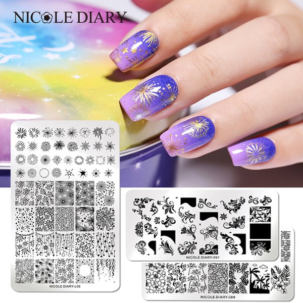 NICOLE DIARY Nail Stamping Plates Rectangle Round Shape Round Moon Star Design Stainless Steel Nail Art Stamp Image Template