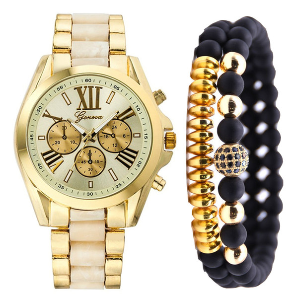 Watch Set Fashion Simple Fake Three Eyes Steel Strip Quartz Watch Send Bracelet Couple Unisex Women Men Gold blue