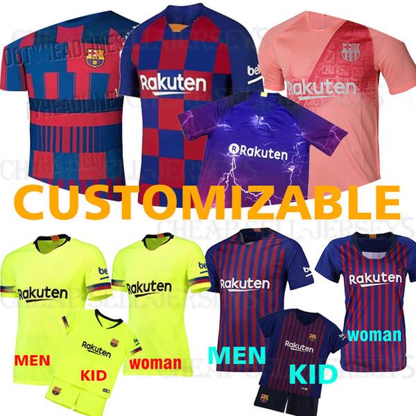 aa8de37b352c76 Compre 2019 Homens Mulheres Crianças Homens Barcelona Futebol Messi Jersey  Iniesta Suárez MALCOM 11 Dembele 14 7 Coutinho Uniformes De Futebol ...