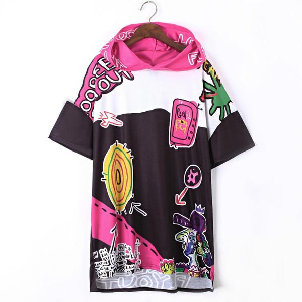 2018 Summer T-shirt Dress Women Hooded Shirt Dress Loose Harajuku Casual Graffiti Print Vestidos Hip Hop Streetwear Punk