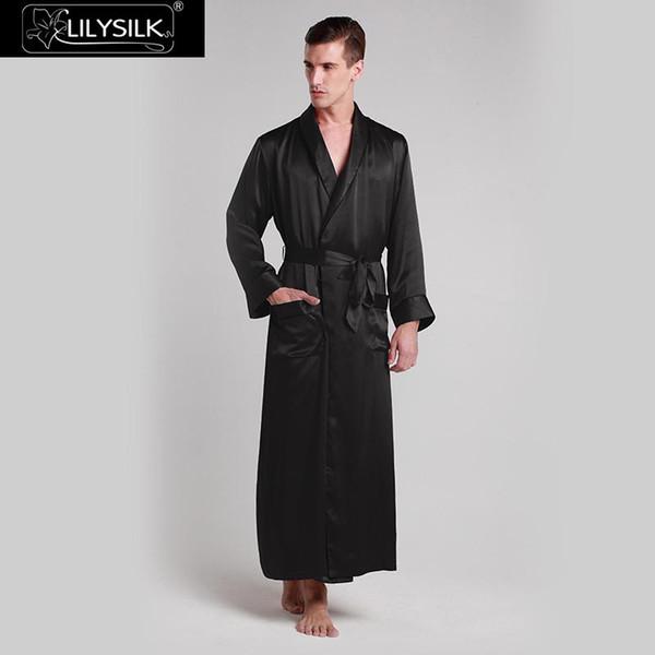 LilySilk Robe Sleepwear Kimono Männer Pure 100 Silk 22 momme Contra Voller Länge Luxus Natürlichen Ausverkauf Kostenloser Versand