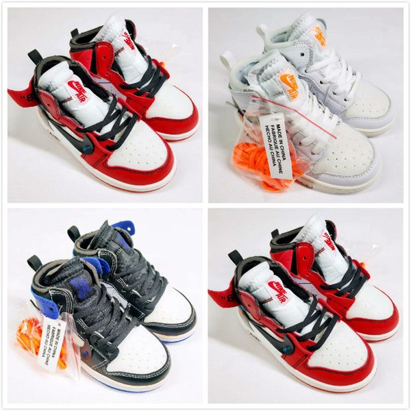 High Quality 1 White Powder Blue Boy girl youth Basketball Shoes For 10X Chicago Bred 1s OFF kids Children Trainers Athletic Sport Sneakers