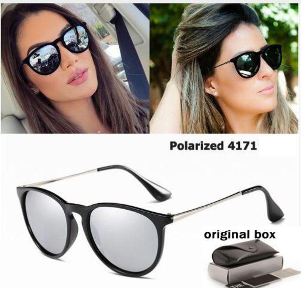 العلامة التجارية الجديدة مصمم التدرج الاستقطاب النظارات الشمسية المرأة ريترو خمر عين القط أزياء النظارات الشمسية المتطابقة اريكا 4171 مع مربع
