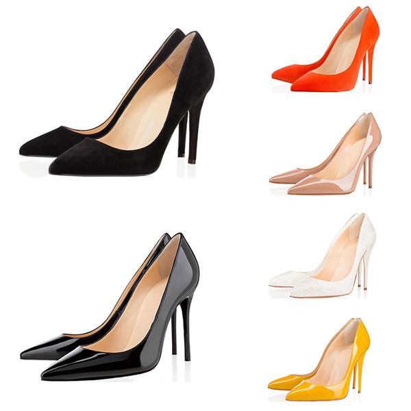 Com caixa de mulheres designer de moda sapatos vermelhos de salto alto inferiores oito centímetros 10 centímetros 12 centímetros Nude couro rosa dedos apontados vermelhas pretas Bombas Sapata de vestido