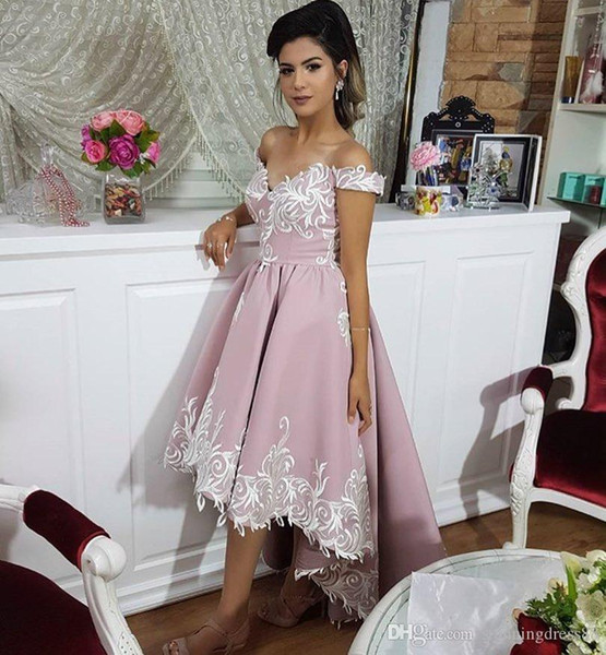 High Low 2019 Homecoming Prom Dresses Embroidery Off The Shoulder Ruched  Satin Fabric Evening Party Formal Dress Cheap Plus Size Cheap Homecoming ...
