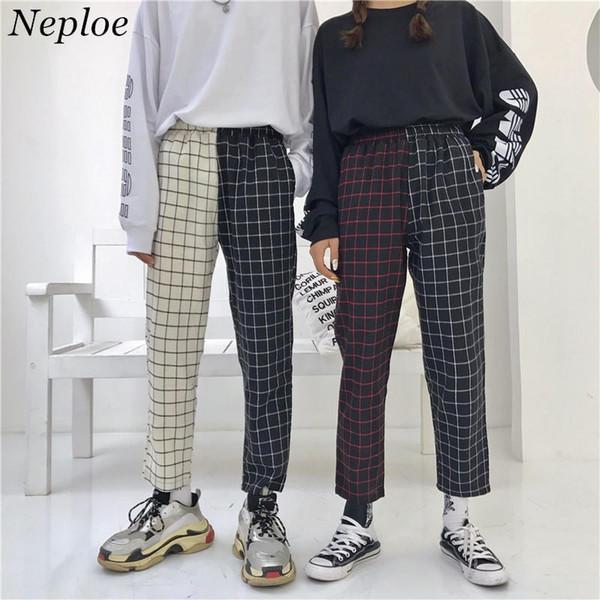 Neploe Vintage Paid Patchwork Pants Harajuku Woman Man Trousers Elastics High Waist Pants Korean Causal Straight Pants 37403 Y190430