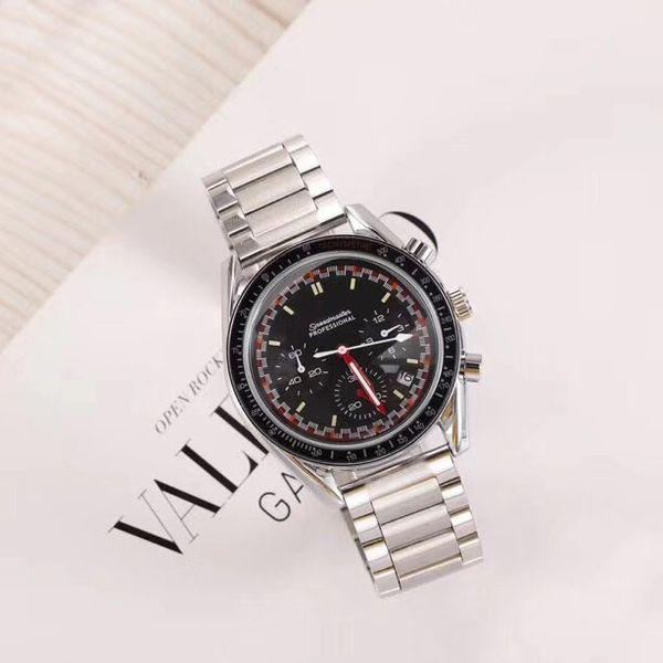 Роскошные мужские дизайнерские часы Лучший бренд Секундомер из нержавеющей стали ремешок 43 мм циферблат кварцевые наручные часы для мужчин Валентина Подарок Montre de Luxe
