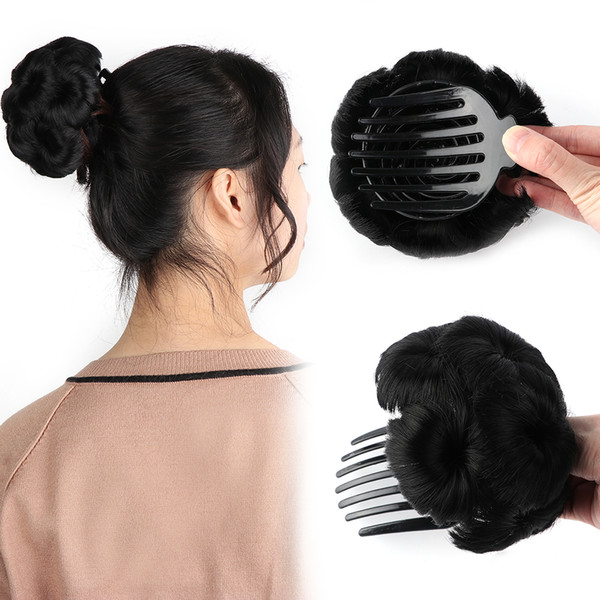 Bun Donut Chignon With Plactic Comb For Women High Temperature Synthetic Fiber Hair Clip In Elastic Fake Hair Extensions 5 Color