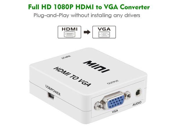 HDMI VGA 1080 P HD HDTV Video Ses Dönüştürücü Kutusu Adaptörü HDMI / VGA DVD / PC Için