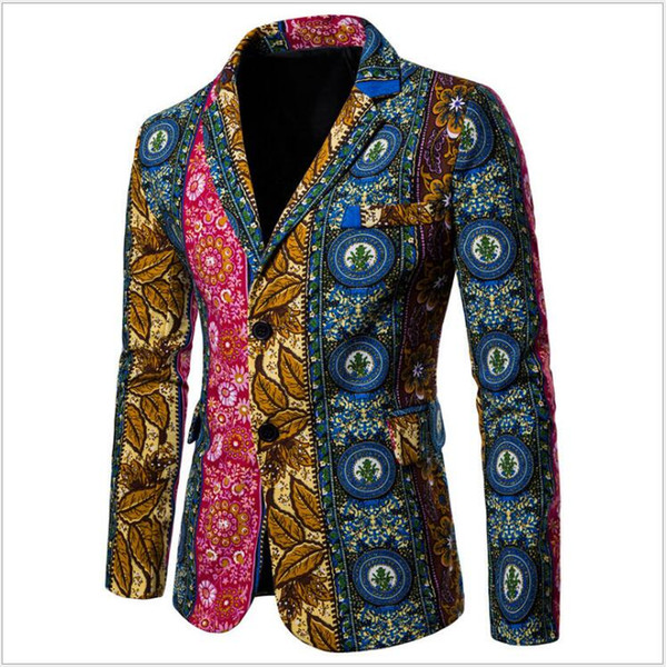 Fashion Design Colourful Printing Men's Large Size M-2XL Ethnic Style Suits Jackets Bestmen Suits Blazers Casual Partry Clothing