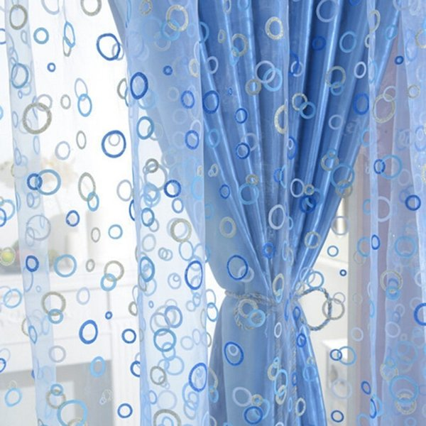 1PC Creative Circle Printed Tulle Window Screens Sheer Voile Door Curtains Drape Panel or Scarf Assorted Polyester