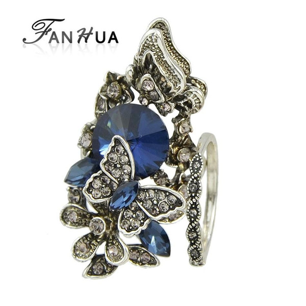 Wholesale- FANHUA 2pcs/set Vintage Accessories Jewelry Antique Silver Color Blue Crystal Flower Butterfly Finger Ring For Women Wedding